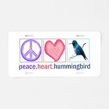 PEACE HEART HUMMINGBIRD Aluminum License Plate