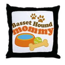 Basset Hound Mommy Pet Gift Throw Pillow