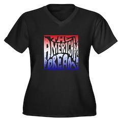 American Dream Women's Plus Size V-Neck Dark T-Shi