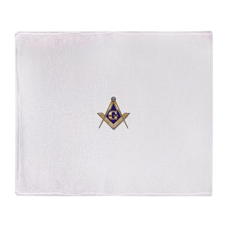 Discreet Blue Square & Compasses Throw Blanket