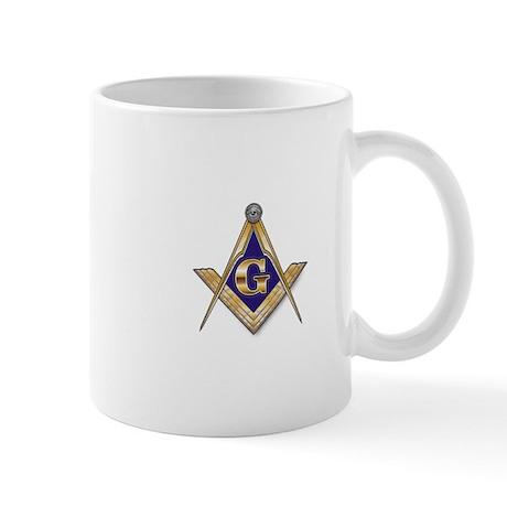 Discreet Blue Square & Compasses Mug