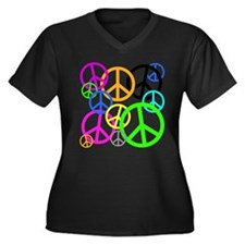 Peace Signs Women's Plus Size V-Neck Dark T-Shirt