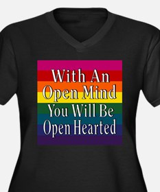 Open Mind Open Hearted Women's Plus Size V-Neck Da