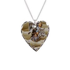 Cute Native american Necklace Heart Charm