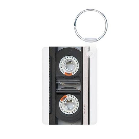 RETRO CASSETTE TAPE Aluminum Photo Keychain