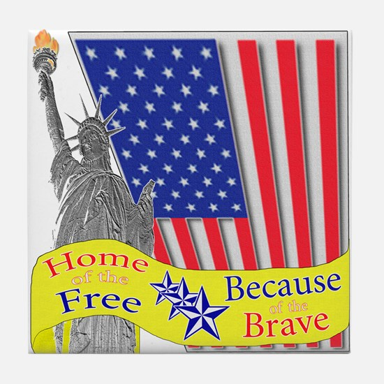 Home of the Free Because of t Tile Coaster