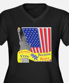Home of the Free Because of t Women's Plus Size V-