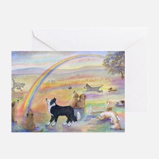 Dogs waiting at Rainbow Bridg Greeting Cards (Pk o