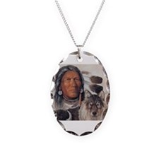 Funny Native american Necklace Oval Charm