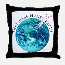God Bless Planet Earth Throw Pillow