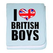 i heart british boys baby blanket