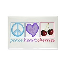 PEACE HEART CHERRIES Rectangle Magnet