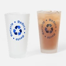 Blue Reduce Reuse Recycle Pint Glass