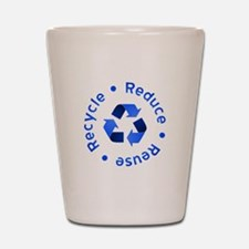 Blue Reduce Reuse Recycle Shot Glass