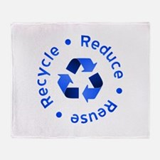 Blue Reduce Reuse Recycle Throw Blanket