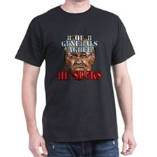 Rumsfeld Sucks say Generals Black T-Shirt