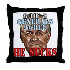 Rumsfeld Sucks say Generals Throw Pillow