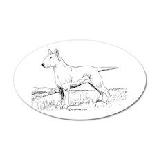 White Bull Terrier 22x14 Oval Wall Peel