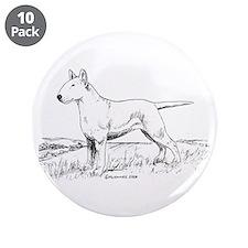 """White Bull Terrier 3.5"""" Button (10 pack)"""