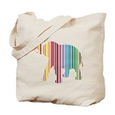 Colorful Elephant Stripes Tote Bag