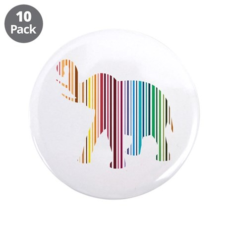 "Colorful Elephant Stripes 3.5"" Button (10 pack)"