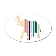 Colorful Elephant Stripes 22x14 Oval Wall Peel
