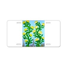 Painted Yellow Roses Aluminum License Plate