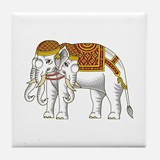 Thai Erawan White Elephant Tile Coaster