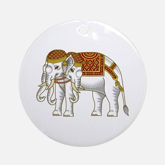 Thai Erawan White Elephant Ornament (Round)