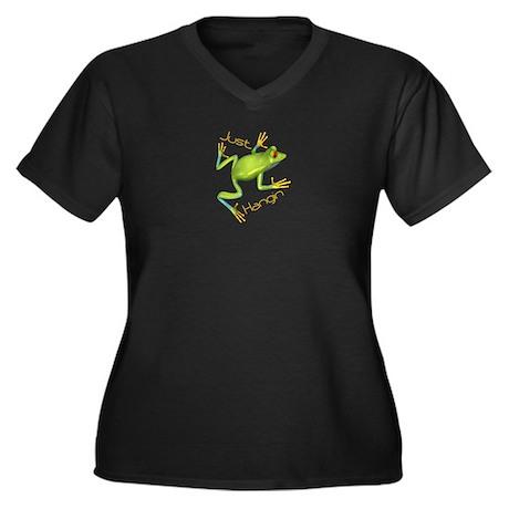 Just Hangin Tree Frog Women's Plus Size V-Neck Dar