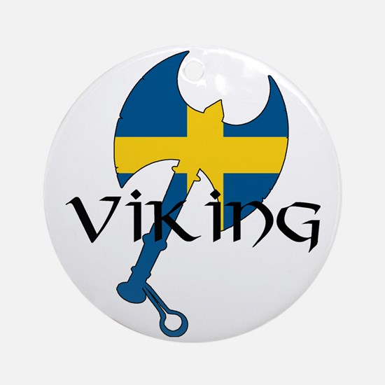 Swedish Viking Axe Ornament (Round)