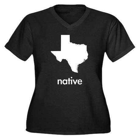 Texas Native Women's Plus Size V-Neck Dark T-Shirt
