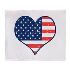Patriotic Heart with Flag Throw Blanket