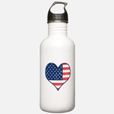 Patriotic Heart with Flag Water Bottle
