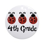 4th Grade School Ladybug Ornament (Round)