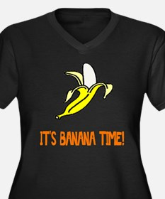 Weird Banana Time Women's Plus Size V-Neck Dark T-
