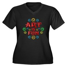 Art is Fun Women's Plus Size V-Neck Dark T-Shirt