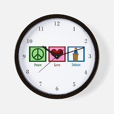 Peace Love Debate Wall Clock
