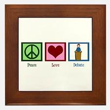 Peace Love Debate Framed Tile