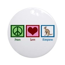 Peace Love Kangaroo Ornament (Round)