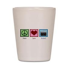 Peace Love Action! Shot Glass