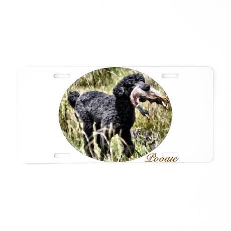 Black Poodle Aluminum License Plate