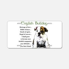 English Bulldog Aluminum License Plate