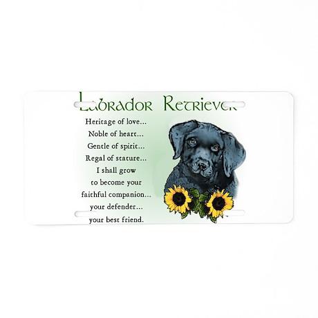 Black Lab Puppy Aluminum License Plate