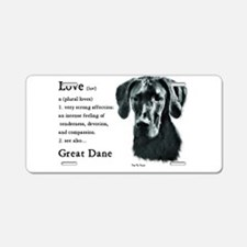Black Great Dane Aluminum License Plate