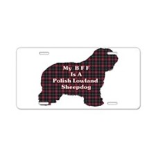 Polish Lowland Sheepdog BFF Aluminum License Plate
