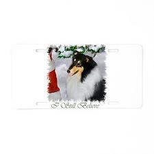 Tri-Color Collie Christmas Aluminum License Plate
