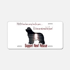 Support Newf Rescue Aluminum License Plate