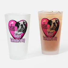Boston Terrier V-Day Drinking Glass
