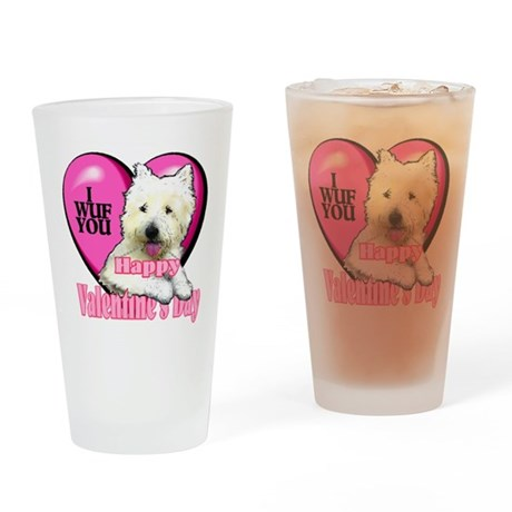 Westie Valentines Day Pint Glass